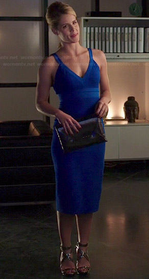 Felicity's blue v-neck 'couture' dress on Arrow