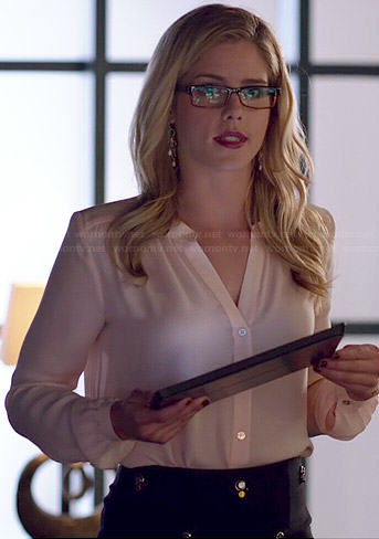 Felicity's black embellished skirt and button down blouse on Arrow