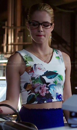 Felicity's floral crop top on Arrow