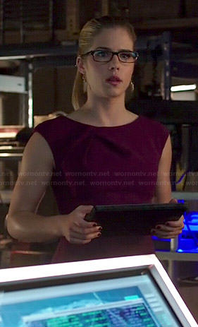 Emily's purple pleated neck dress on Arrow