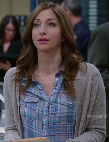 Gina's blue plaid shirt and grey cardigan on Brooklyn Nine-Nine
