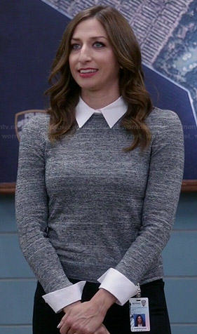 Gina's grey sweater with white collar and cuffs on Brooklyn Nine-Nine
