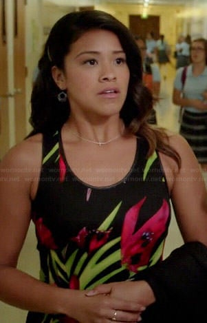 Jane's black tropical floral dress on Jane the Virgin