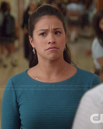 Jane's blue ribbed skater dress on Jane the Virgin