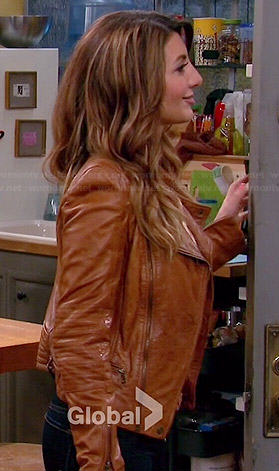 Jane's tan leather jacket on Mulaney
