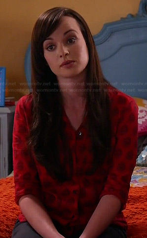 Jenna's red printed shirt on Awkward