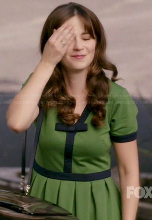 Jess's green dress with blue trim on New Girl