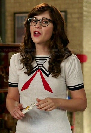 Jess's nautical style sweater top on New Girl