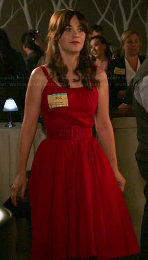 Jess's red belted dress on New Girl
