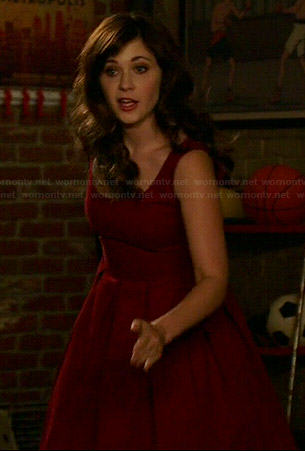 Jess's dark red box pleated dress on New Girl