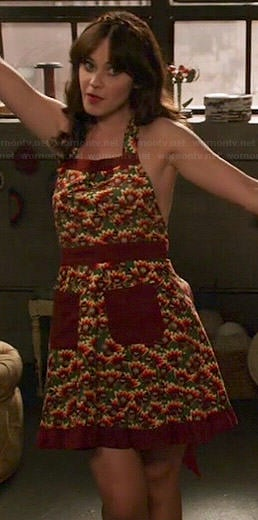 Jess's Thanksgiving turkey print apron on New Girl