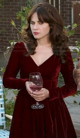 Jess's red velvet Thanksgiving dress on New Girl