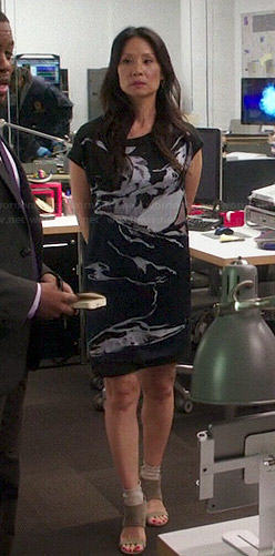 Joan's navy graphic dress on Elementary