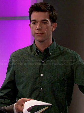 John's green printed shirt on Mulaney