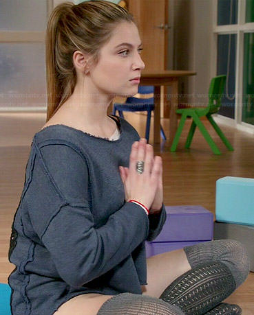 Kara's crochet back sweatshirt and grey two-tone socks on Red Band Society