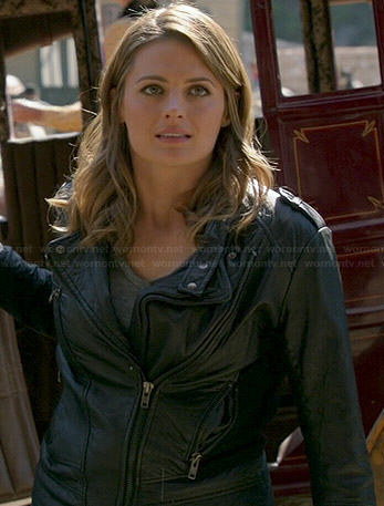 Kate's leather moto jacket on Castle