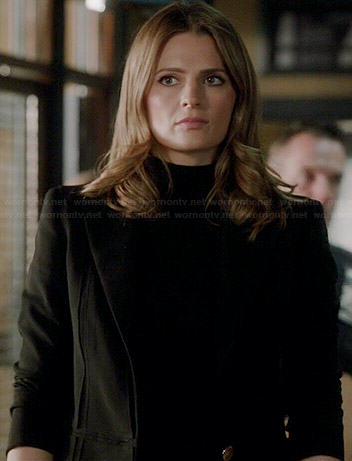 Kate's black seam detail blazer on Castle