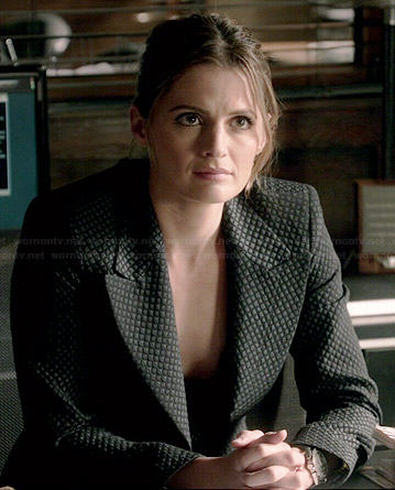 Kate's black diamond textured blazer on Castle