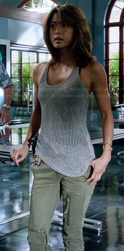 Kono's grey mesh knit tank top and green zip pocket pants on Hawaii Five-O