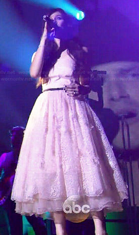 Layla's light pink strapless midi dress for her CMAs performance on Nashville