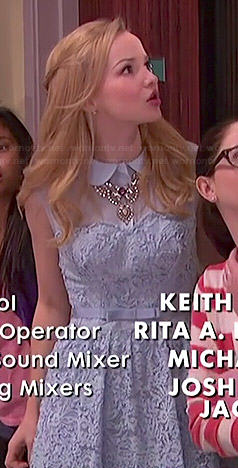 Liv's blue lace collared dress on Liv and Maddie