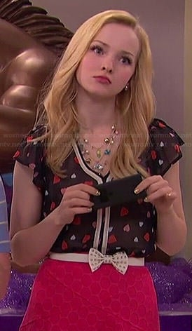 Liv's heart print blouse and red polka dot skirt on Liv and Maddie