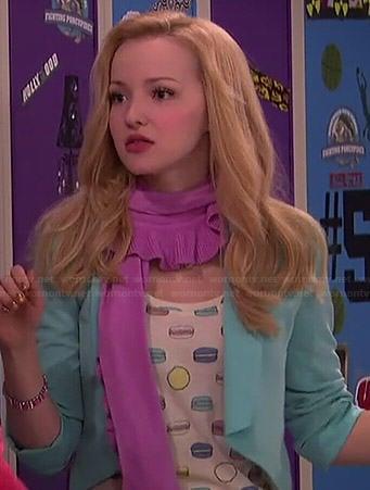 Liv's macaron printed tee and blue blazer on Liv and Maddie