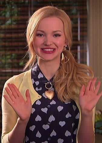 Liv's navy heart print top on Liv and Maddie