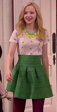 Liv's pineapple printed tee and green high waisted skirt on Liv and Maddie