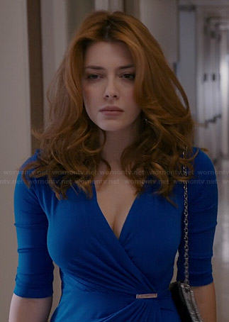 38f74046d17 WornOnTV  Louise s blue wrap dress on Revenge