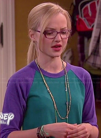 Maddie's green and purple baseball tee on Liv and Maddie