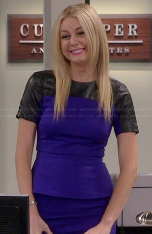 Maddie's blue peplum dress with leather sleeves on Cristela