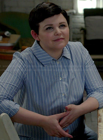 Mary's blue vertical striped shirt on Once Upon a Time