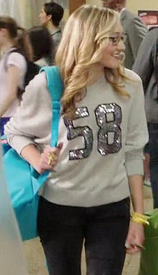 Maya's grey sequinned '58' sweater on Degrassi