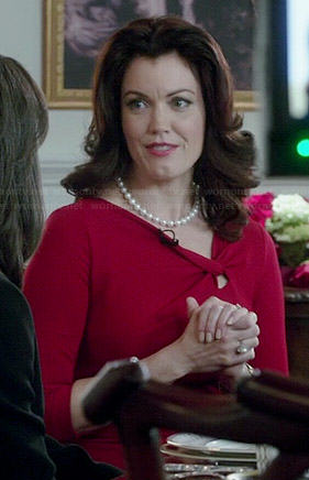 Mellie's red knotted neck dress on Scandal