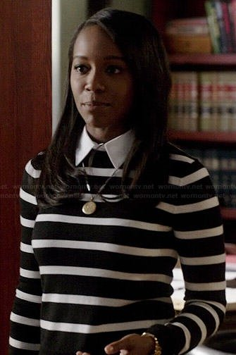 Michaelas black and white striped sweater with collar on How to Get Away with Murder