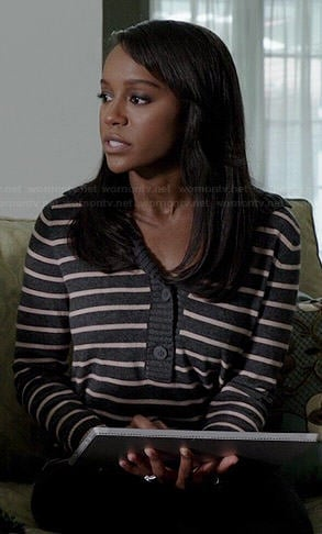 Michaela's grey striped shawl collar sweater on How to Get Away with Murder