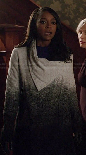 Michaela's pink coat with embellished collar on How to Get Away with Murder