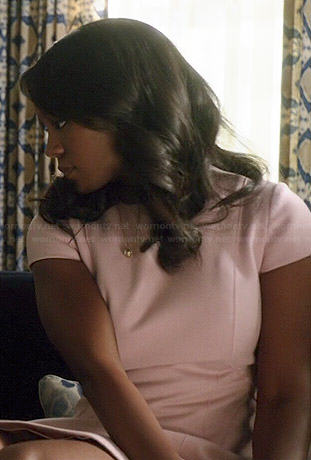 Michaela's pink cap sleeve peplum dress on How to Get Away with Murder