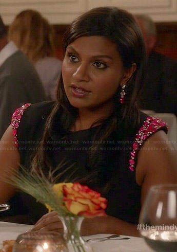 Mindy's black dress with pink beaded sleeves on The Mindy Project