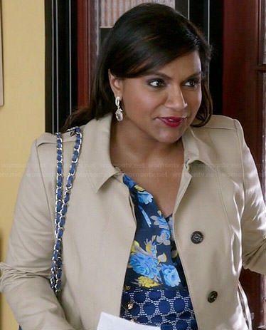 Mindy's blue floral blouse and polka dot skirt on The Mindy Project