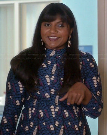 Mindy's blue, purple and white patterned dress on The Mindy Project