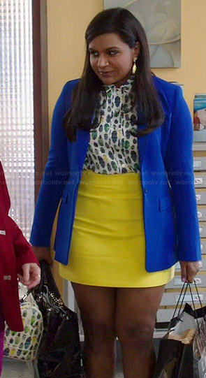 Mindy's bug printed top and yellow skirt on The Mindy Project