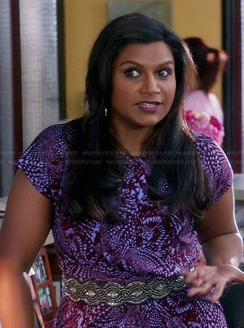 Mindy's purple printed dress on The Mindy Project