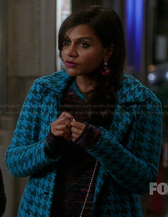 Mindy's patterned long sleeve dress, blue houndstooth coat and pink earrings on The Mindy Project