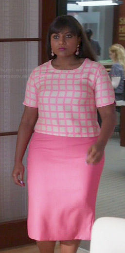 Mindy's pink checked top on The Mindy Project