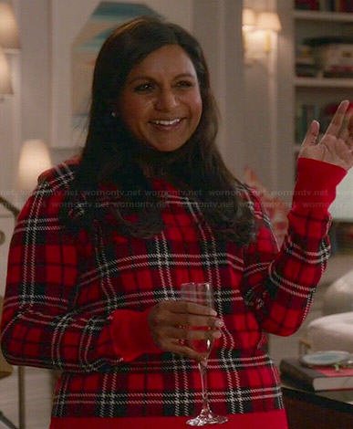 Mindy's red plaid sweater on The Mindy Project