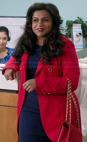 Mindy's red trench coat on The Mindy Project