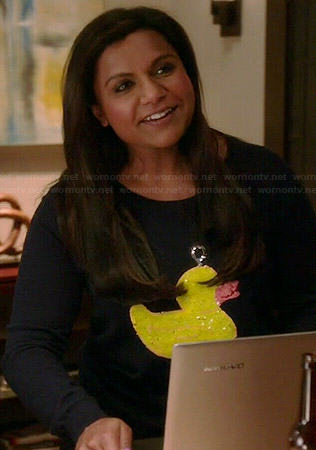 Mindy's sequinned duck sweater on The Mindy Project