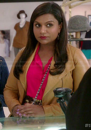 Mindy's tan leather jacket on The Mindy Project